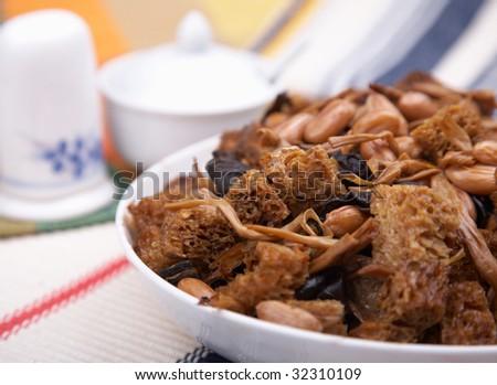 stir-fried tofu and peanut. - stock photo