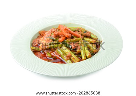 Stir fried variety of vegetables , Thai style food - stock photo