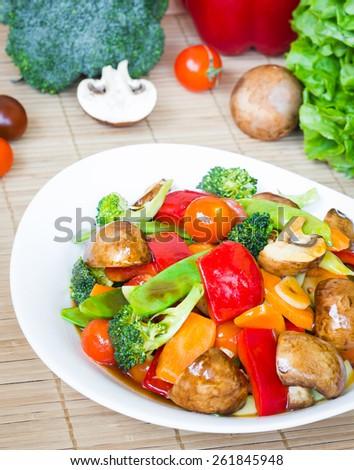 Stir fried vegetable - stock photo