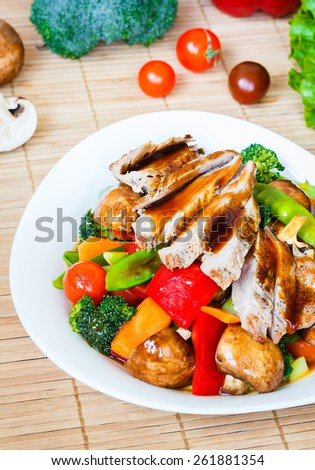 Stir fried vegetable with meat - stock photo