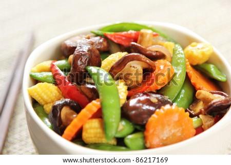 Stir fried vegetable with mushroom - stock photo