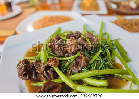 Stir-fried vegetables - stock photo