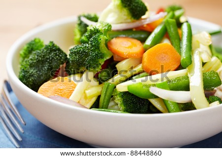 Stir fried vegetables in a bowl - stock photo