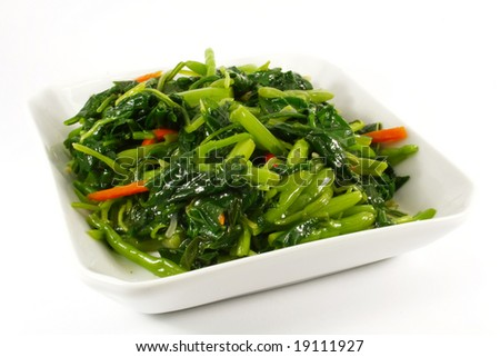Stir Fried Vegetables on a White Plate Single Serving - stock photo