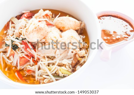 Stir fry bean sprout with tofu and spicy sauce, stock photo