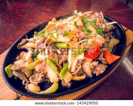 Stir fry beef with mixed vegetables