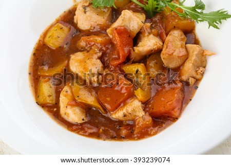 Stir-fry chicken breast in oyster sauce - stock photo