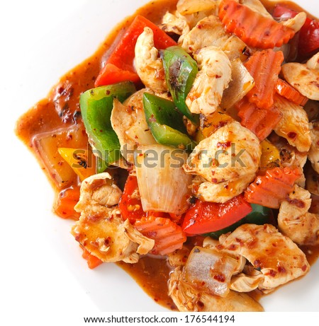 Stir fry chicken spicy sauce with vegetable - stock photo
