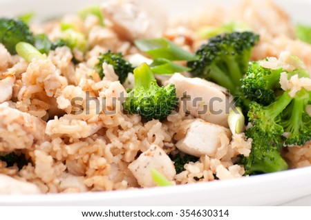stir fry rice and chicken with broccoli - stock photo