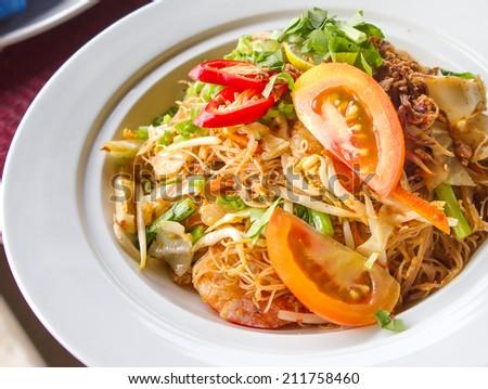 Stir-fry rice noodles - stock photo