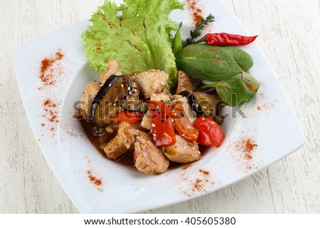 Stir-fry turkey breast with vegetables and oyster sauce - stock photo
