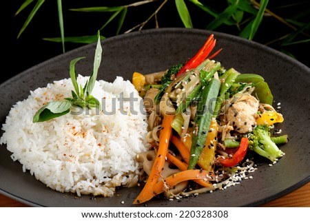 Stir Fry vegetable/Chicken with Rice  - stock photo