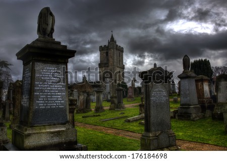 Stirling Castle Graveyard on a  Gloomy evening - stock photo