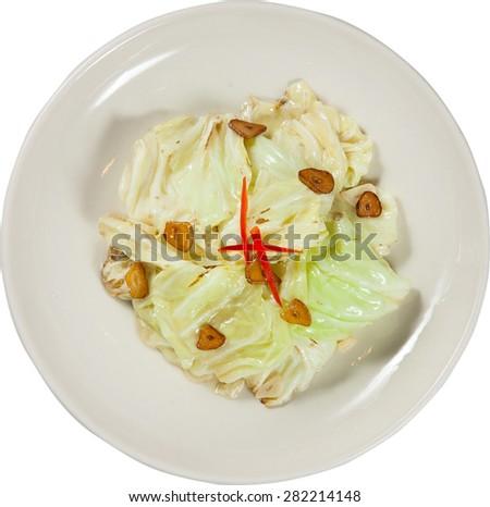 stirred-fried cabbage - stock photo
