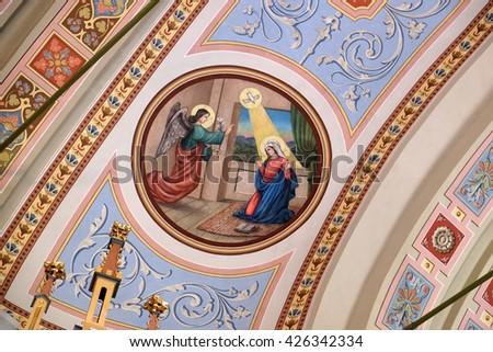 STITAR, CROATIA - AUGUST 27: Annunciation of Mary, fresco in the church of Saint Matthew in Stitar, Croatia on August 27, 2015 - stock photo