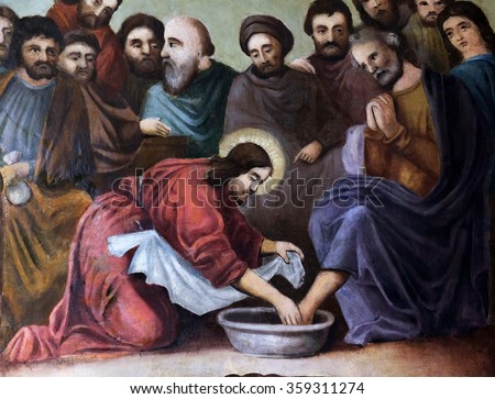 STITAR, CROATIA - AUGUST 27: Jesus washes the feet of Peter, fresco in the church of Saint Matthew in Stitar, Croatia on August 27, 2015 - stock photo