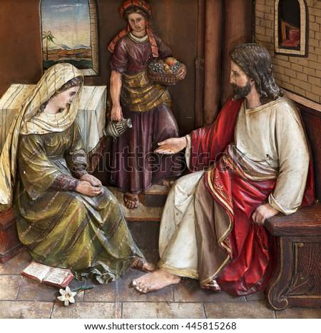 STITAR, CROATIA - NOVEMBER 24: Christ in the House of Mary and Martha, main altar in the church of Saint Matthew in Stitar, Croatia on November 24, 2015 - stock photo