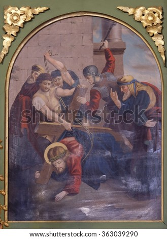 STITAR, CROATIA - NOVEMBER 24: 3rd Stations of the Cross, Jesus falls the first time, church of Saint Matthew in Stitar, Croatia on November 24, 2015