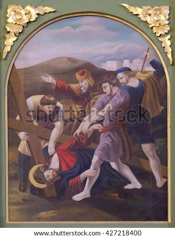 STITAR, CROATIA - NOVEMBER 24: 9th Stations of the Cross, Jesus falls the third time, church of Saint Matthew in Stitar, Croatia on November 24, 2015