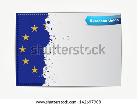 Stitched European Union flag with grunge paper frame for your text with the name of the country. (Raster)