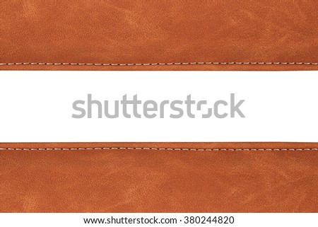 stitched leather background brown colour on whith background - stock photo