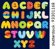 Stitches Patchwork Font, Colorful Motley Alphabet for your Design and Text ( vector version at my gallery ) - stock vector