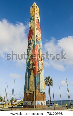 STO DOMINGO, DOMINICAN REPUBLIC - FEBRUARY 13  The obelisk by the sea at Santo Domingo Malecon stands as one of  the city most recognized monuments  on Feb 13, 2014 in Sto Domingo, Dominican Republic.