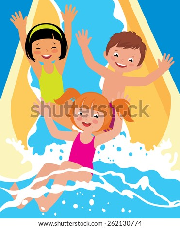 Stock cartoon illustration ?hild boys and girl playing in water park in summer/Child boys and girl playing in water park/Stock cartoon illustration - stock photo