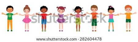 Stock cartoon illustration large group of children of different ethnic isolated on white background/Large group of children of different ethnic/Stock cartoon illustration - stock photo