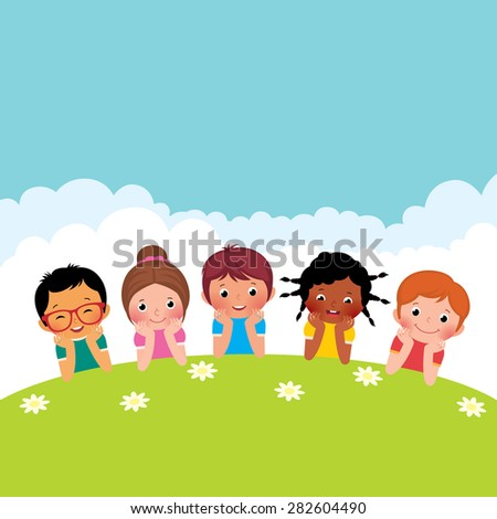 stock cartoon illustration of a group of happy children boys and girls lying on the grass - Cartoon Picture Of Children