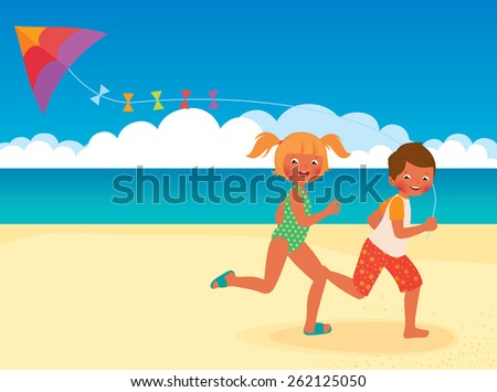 Stock cartoon illustration of kids running with kite on the beach/Children running with a kite on the beach/Children running with a kite on the beach/Stock cartoon illustration - stock photo