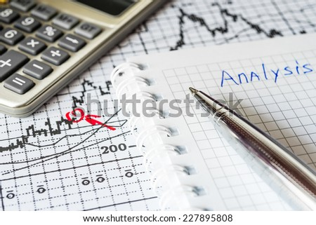 Stock Chart Analysis, calculation of income - stock photo
