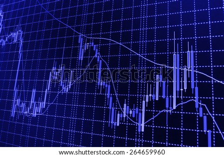 Stock chart graph of market share prices of company. Live on monitor desktop screen monitor. Business background. Blue color.   - stock photo