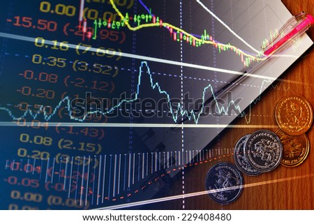 stock chart on monitor. finance concept. - stock photo