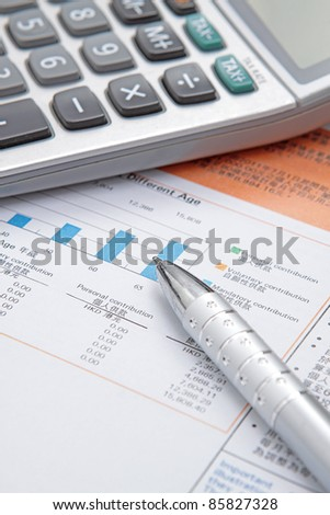 Stock chart with calculator,pen