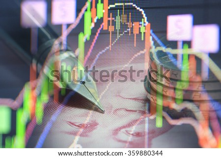 stock chart with pen and banknote - stock photo