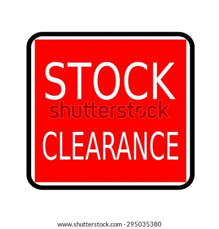 Stock clearance white stamp text on red background