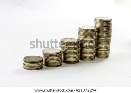 Stock, Coin diagram, Coin Graph, Financial concept on White background ; Soft focus