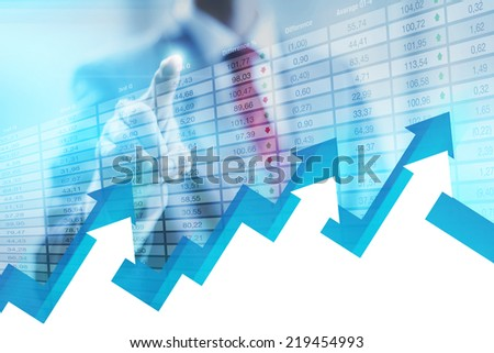 Stock concept business man pointing