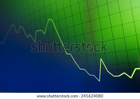 stock crash recession - computer screen background - stock photo