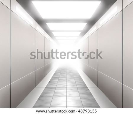 Stock 3D Illustration of a Brightly lit corridor leading into white light