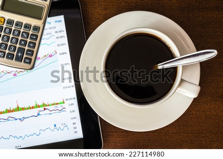 Stock Data Analysis with calculator and coffee cup - stock photo