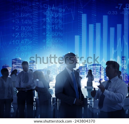 Stock Exchange Business People Conference Meeting Seminar Concept - stock photo