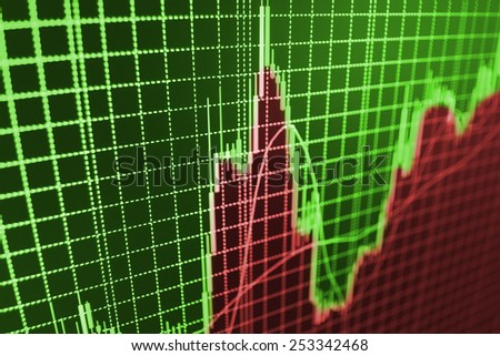 Stock exchange business screen data graph background. Green and red color for profit and loss. - stock photo