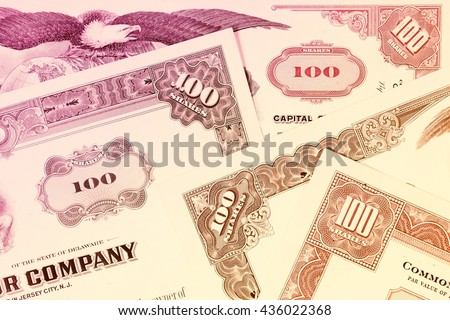 Stock exchange certificates - share investment. - stock photo