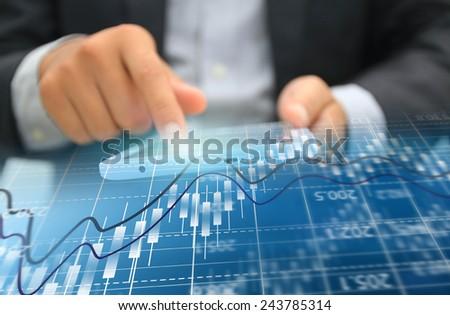 Stock exchange chart,Business analysis diagram. - stock photo