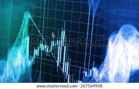 Stock exchange chart graph. Finance business background. Abstract stock market diagram candlebars trade. Blue color.  - stock photo