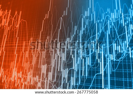 Stock exchange chart graph. Finance business background. Abstract stock martet diagram candlebars trade. Red, orange, blue color.  - stock photo