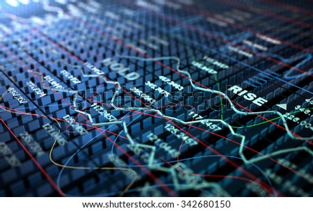 Stock Exchange 3D Graph background, 3D illustration - stock photo