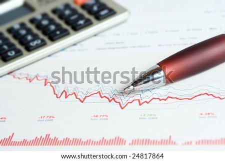 Stock exchange graphs analysis. - stock photo